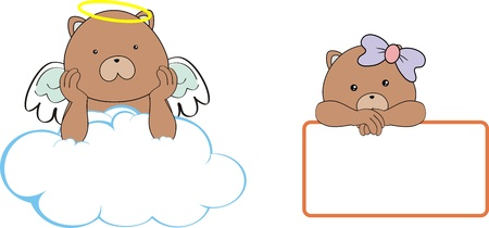 brown teddy bear angel cartoon copyspace Stock Vector - 18356602