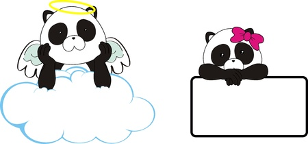 panda bear angel cartoon copyspace in vector format Vector
