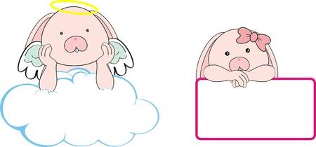 angel cartoon: bunny angel cartoon copyspace in vector format Illustration