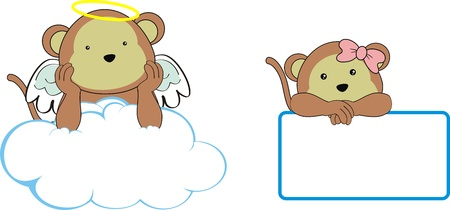 monkey angel cartoon copyspace  Vector