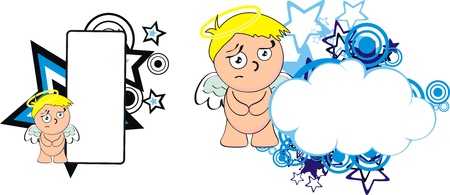 angel kid cherub cartoon copyspace Stock Vector - 18356605