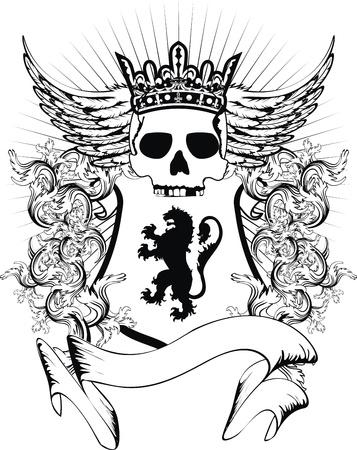 winged lion: escudo her�ldico del escudo de armas cr�neo en formato vectorial muy f�cil de editar