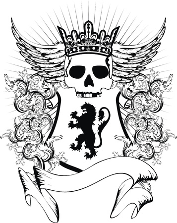 skull and crown: heraldic coat of arms crest skull in vector format very easy to edit