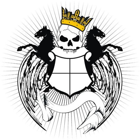tattoo design: heraldic coat of arms crest skull in vector format very easy to edit