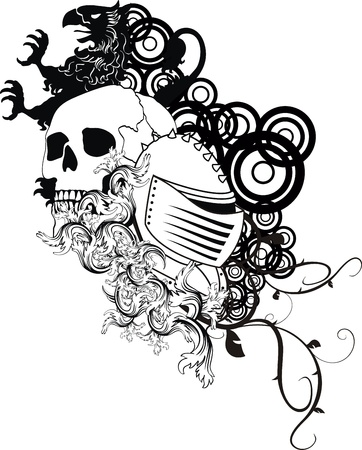 heraldic coat of arms crest skull in vector format very easy to edit