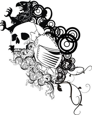 heraldic coat of arms crest skull in vector format very easy to edit Stock Vector - 18458266