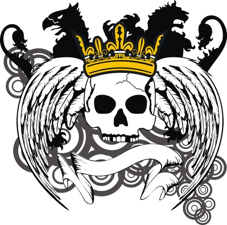 heraldic coat of arms crest skull in vector format very easy to edit Vector