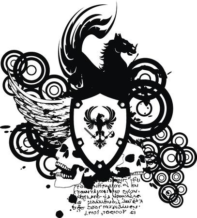 heraldic coat of arms crest skull in vector format very easy to edit Stock Vector - 18458276