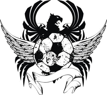 heraldic soccer coat of arms crest in vector format Vector