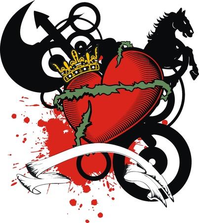 Heraldische hart wapen in afbeelding Stockfoto - 18725804