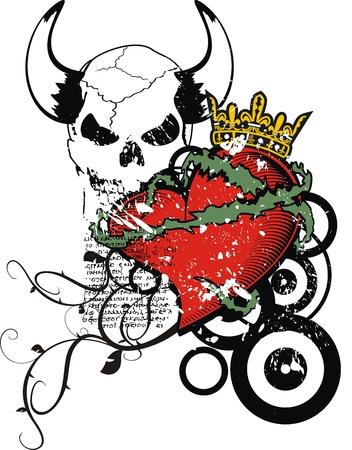 tattoo design: heraldic heart coat of arms in illustration