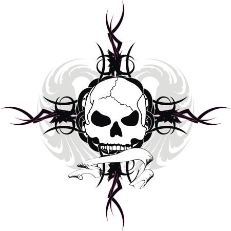 schedel tribal tattoo Stock Illustratie