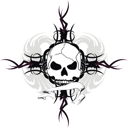 skull tribal tattoo Иллюстрация
