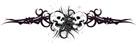 skull tribal tattoo  Ilustrace