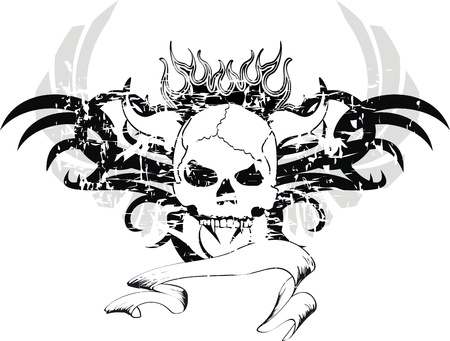 the flame: skull tribal tattoo  Illustration