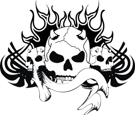 skull tribal tattoo Stock Vector - 19509392
