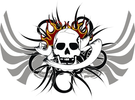 fire skull: skull tribal tattoo Illustration