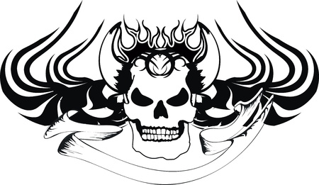 flame: skull tribal tattoo Illustration