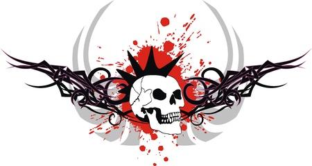 tattoo design: skull tribal tattoo  Illustration