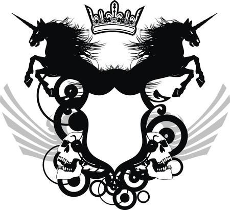 heraldic unicorn coat of arms tattoo  Stock Illustratie