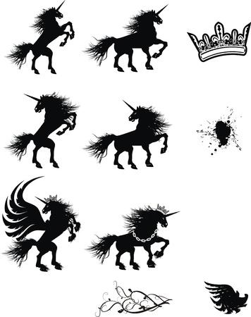 heraldic unicorn coat of arms tattoo set