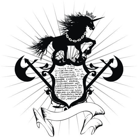 heraldic unicorn coat of arms tattoo  Vector