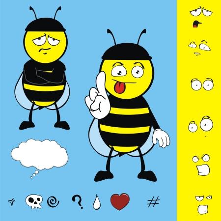 bee funny kid cartoon set  Vector