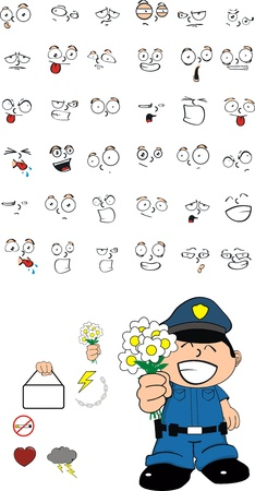 funny kid cartoon policeman set  Vector