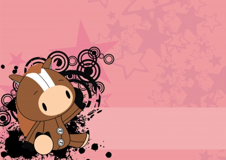horse baby cute cartoon background  Illustration