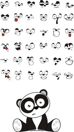 팬더 곰 아기 귀여운 앉아 만화 벡터 형식으로 설정