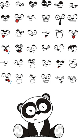 panda bear baby cute sitting cartoon set in vector format Illustration