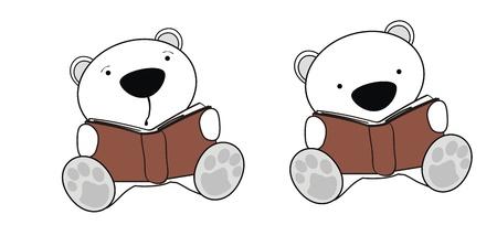 baby bear: polar bear baby cartoon reading set in vector format