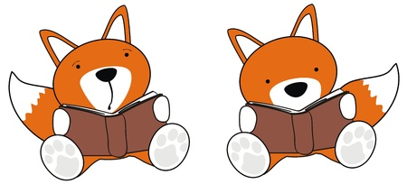 fox baby cartoon reading set in vector format Vector