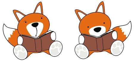 fox baby cartoon reading set in vector format Stock Vector - 19912108