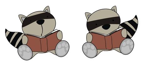 raccoon baby cartoon reading set in vector format Vector
