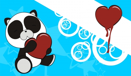 panda bear baby cartoon love heart background in vector format Vector