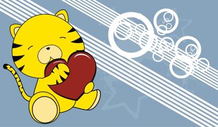 tiger baby cartoon love heart background  Stock Vector - 19974515