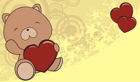 teddy bear baby cartoon love heart background  Vector