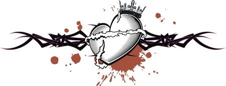 Stammenhart tattoo t-shirt Stockfoto - 20300621