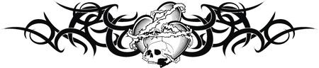 T-shirt tribal de tatouage de coeur Banque d'images - 20300627