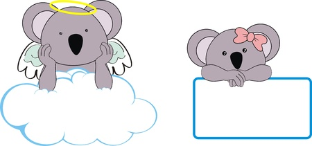 koala kid girl angel copy space cloud set  Vector