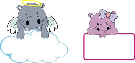 뚱 땡 아이 소녀 천사 복사본 공간 구름 세트 일러스트