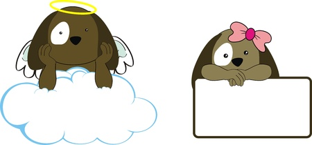 puppy kid girl angel copy space cloud set Vector