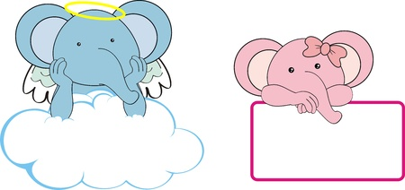 elephant kid girl angel copy space cloud set  Vector