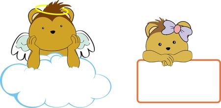 porcupine kid girl angel copy space cloud set  Vector