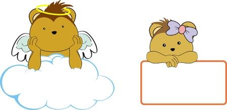 porcupine: porcupine kid girl angel copy space cloud set  Illustration