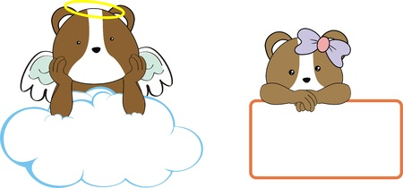 hamster kid girl angel copy space cloud set Vector