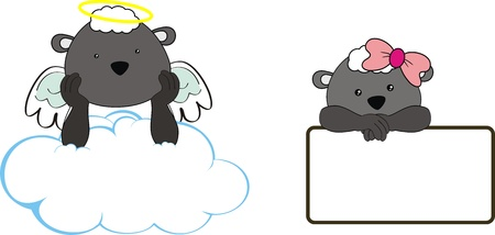 sheep kid girl angel copy space cloud set  Vector