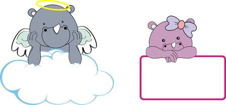 infant: rhino kid girl angel copy space cloud set Illustration