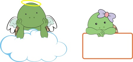 turtle kid girl angel copy space cloud set Vector